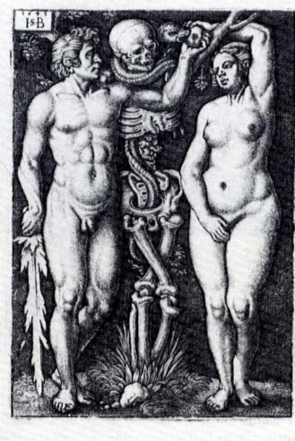 Adan y Eva. Grabado de Hans Sebald Beham (1543)