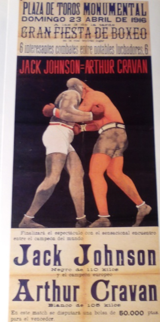 Cartel anunciador de la pelea entre Jack Johnson y Arthur Cravan