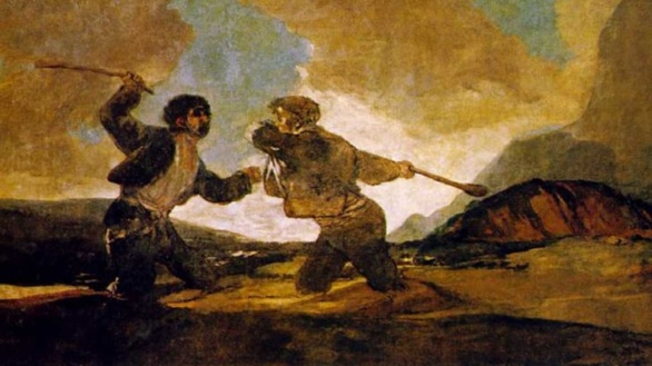 Pinturas Negras de Goya. Duelo a garrotazos o La riña 1823