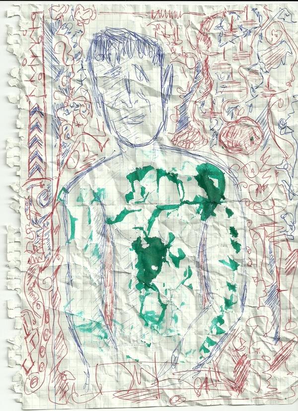Mundo de un hombre desnudo con manchas verdes