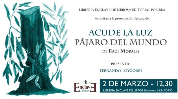 Invitación para acudir a la presentación del último libro de Raúl Morales