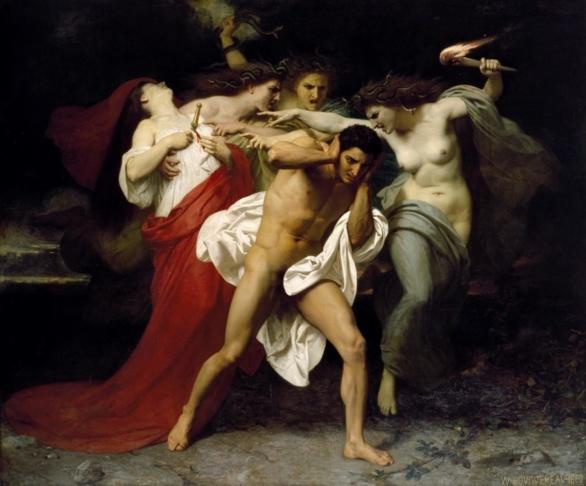 Orestes perseguido por las Euménides de Adolph Borguereau (1862)