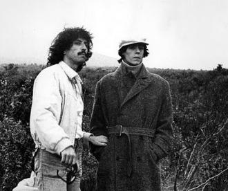 Ivan Zulueta a la izquierda y Will More durante el rodaje de Arrebato