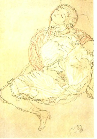 Mujer semidesnuda con los ojos cerrados. Gustav Klimt ca. 1912
