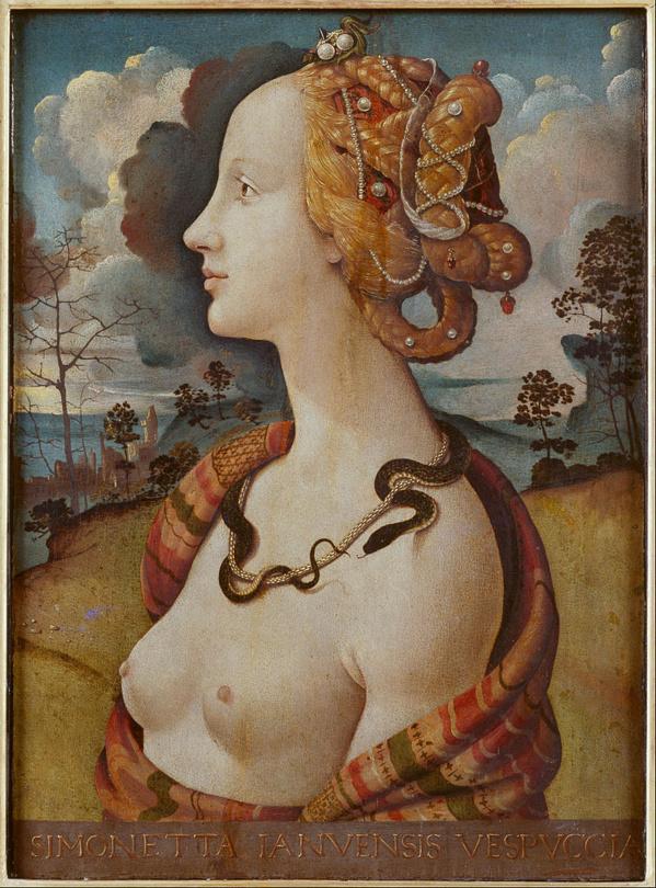 Retrato de Simonetta Vespucci de Piero di Cosimo. 1490