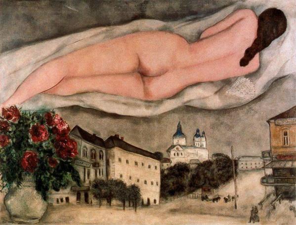 Desnudo sobre Vitebsk. Marc Chagall. 1933