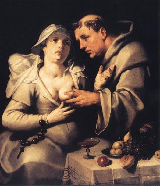 Un fraile y una monja de Cornelius van Haarlem. 1591