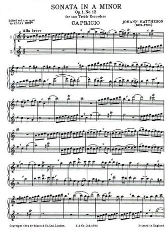 Partitura de Johann Mattheson para flauta dulce