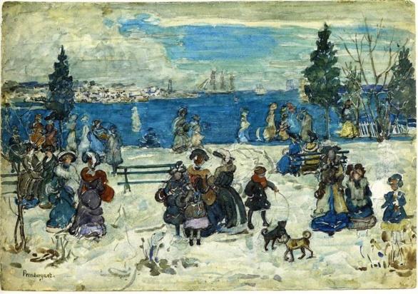 Abril nevado en Salem. Maurice Prendergast. 1905