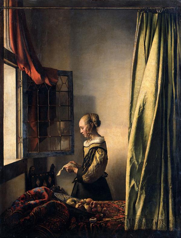 Muchacha leyendo una carta junto a una ventana abierta de Johannes Vermeer. 1657