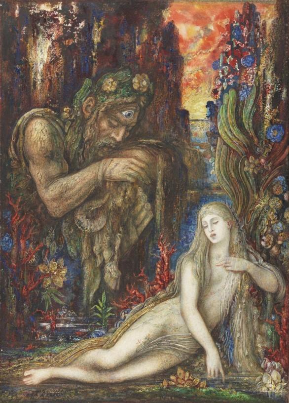 Galatea de Gustave Moreau. Tinta, temple, gouache y acuarela sobre cartón. ca. 1896