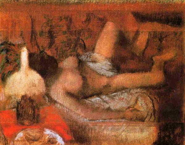 Desnudo reclinado de Edgar Degas. 1885