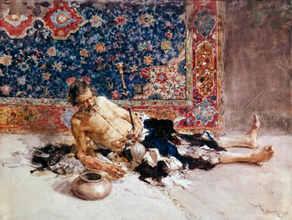 El fumador de opio de Mariano Fortuny. Acuarela sobre papel. 1869