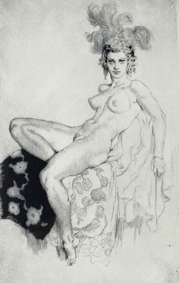 Aloha. Aguafuerte nº 330. Norman Lindsay. 1937.