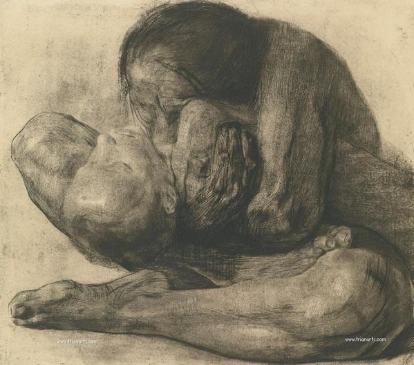 Mujer con niño muerto. Käthe Kollwitz. 1903