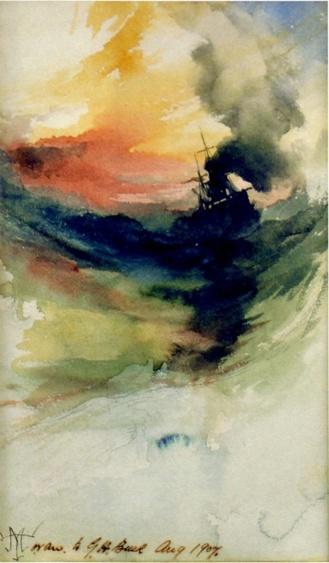 Humo de barco en el mar de Thomas Moran (1907)