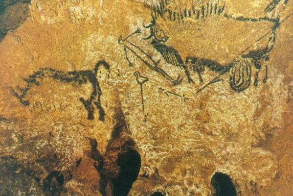 Bisonte, rinoceronte y hombre-pájaro. Cueva de Lascaux (17.000-15.000 a.C.)