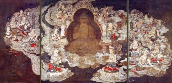 Tríptico. Amida y veinticinco bosatsu. Atribuido a Eshin Sozu siglos XI-XII. Tinta y color sobre seda