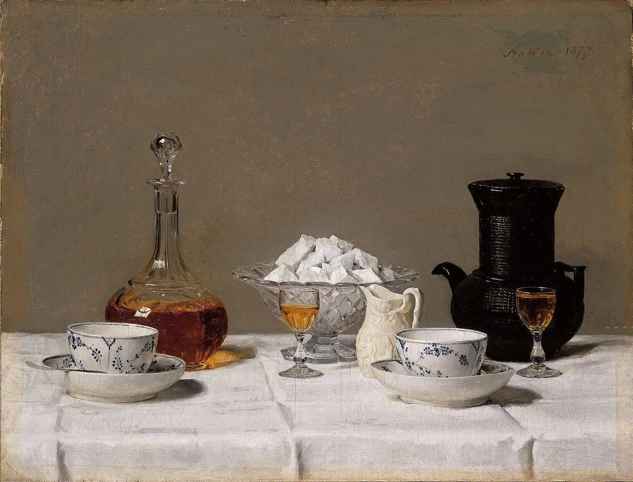 Naturaleza muerta con café. Albert Anker (1877)