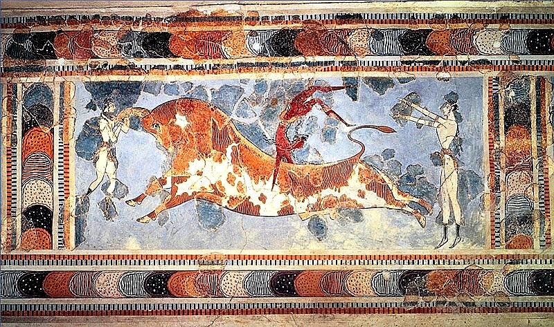 El salto del toro. Fresco del Palacio de Cnossos II milenio a.C.