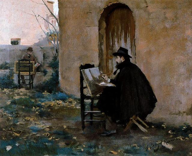 Santiago Rusiñol y Ramón Casas retratándose. 1890. Cuadro pintado por ambos artistas