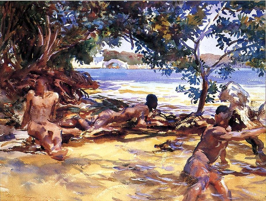Bañistas de John Singer Sargent 1917 (Acuarela)