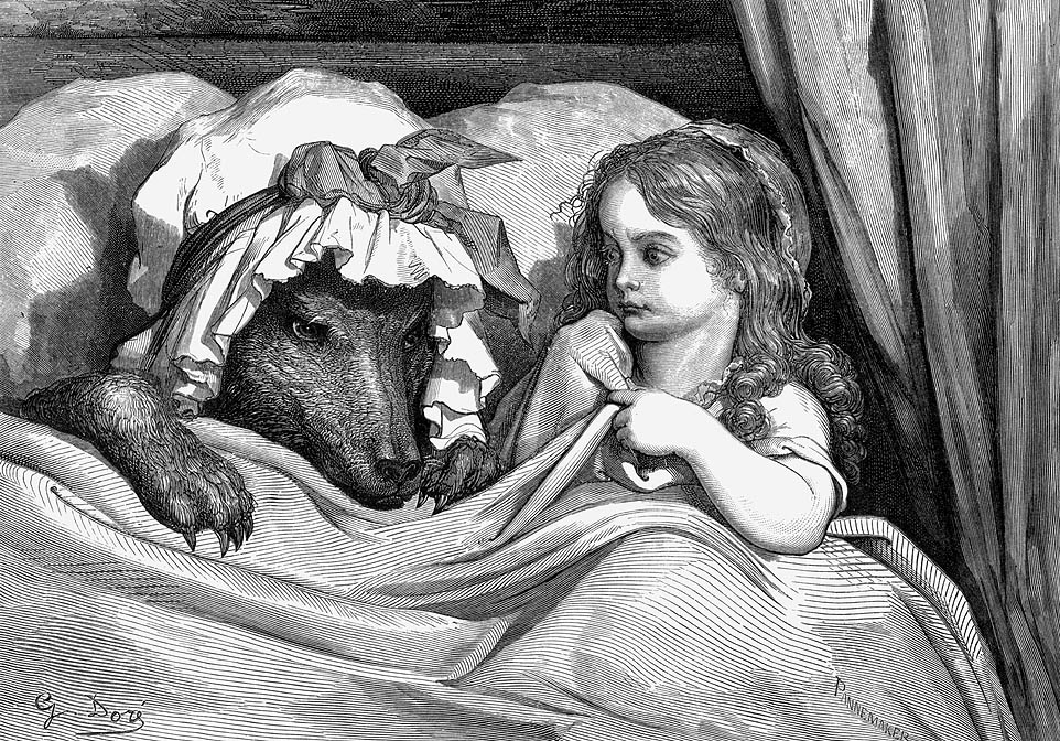 Caperucita y el lobo. Grabado de Gustave Doré. 1883