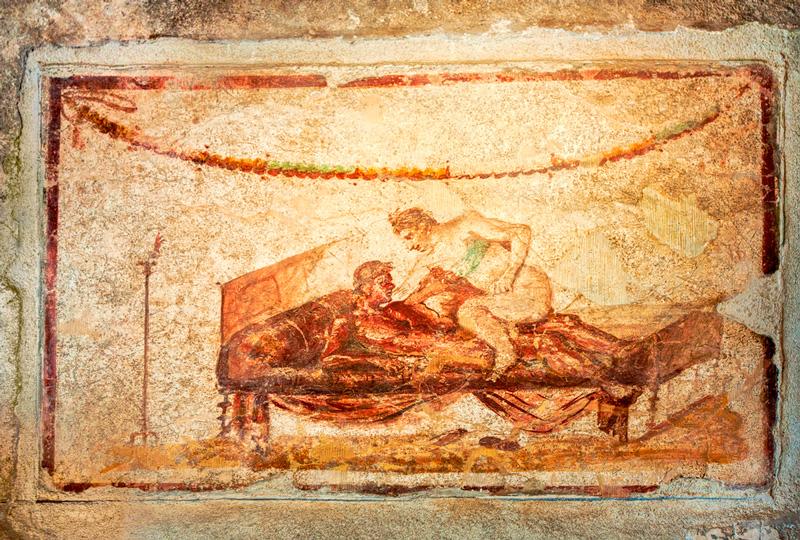 Fresco en la pared de un burdel de Pompeya. Antes del siglo II de la era común