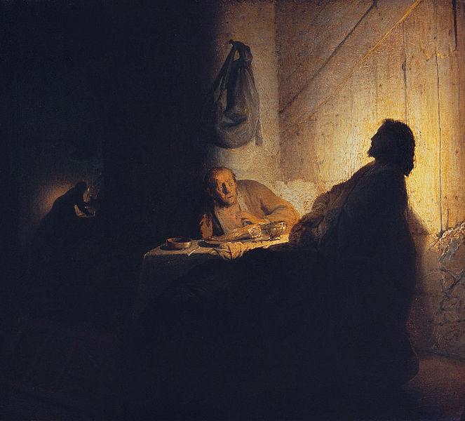 La cena en Emaus de Rembrandt. 1629