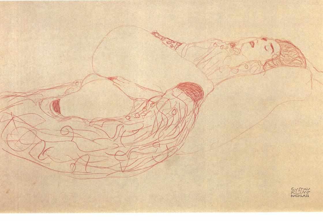 Mujer semidesnuda y reclinada. Gustav Klimt. ca. 1900
