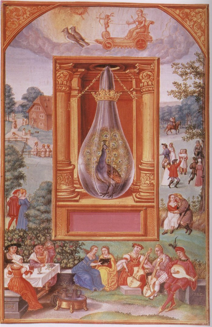 Iluminación de Cola de pavo real del Splendor solis de Salomon Trismosin. Finales del siglo XVI