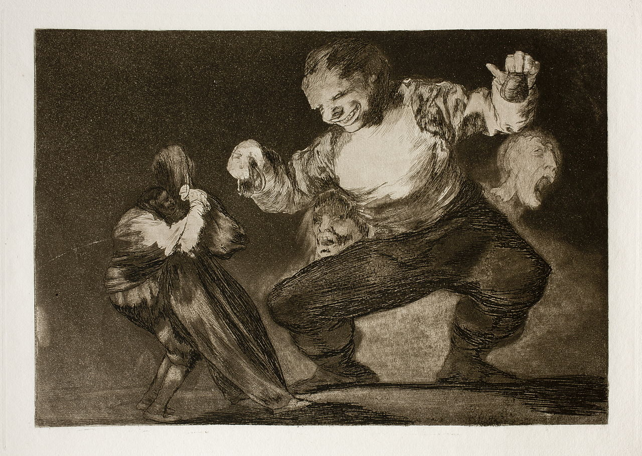 Bobalicón. 4º aguafuerte de la serie Disparates. Francisco de Goya.1815-1819