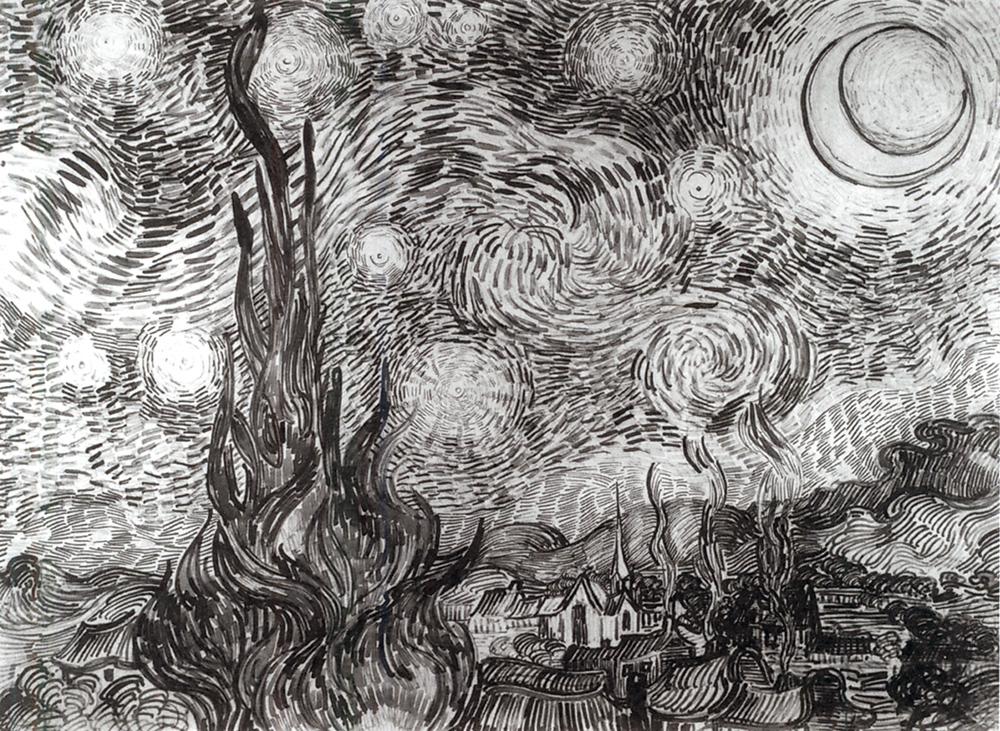 Cipreses en la noche estrellada. Vincent van Gogh. 1889. Dibujo a pluma y tinta